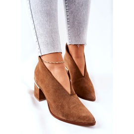 Leather Boots On High Heel Laura Messi Brown 2344 1