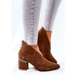 Leather Boots On High Heel Laura Messi Brown 2344 2