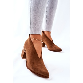 Leather Boots On High Heel Laura Messi Brown 2344 4