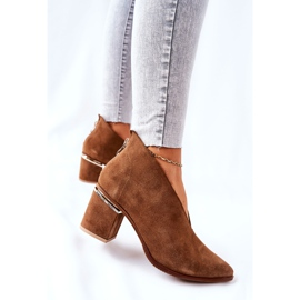 Leather Boots On High Heel Laura Messi Brown 2344 5