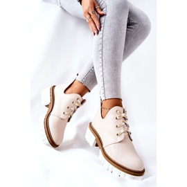 PA2 Leather Boots With A Cut Out Beige Kaxo 8