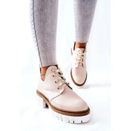 PA2 Leather Boots With A Cut Out Beige Kaxo 3