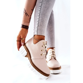 PA2 Leather Boots With A Cut Out Beige Kaxo 2