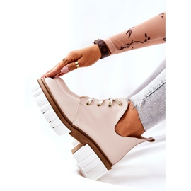 PA2 Leather Boots With A Cut Out Beige Kaxo 9