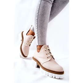 PA2 Leather Boots With A Cut Out Beige Kaxo 6