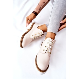 PA2 Leather Boots With A Cut Out Beige Kaxo 10