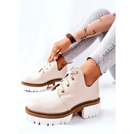 PA2 Leather Boots With A Cut Out Beige Kaxo 1