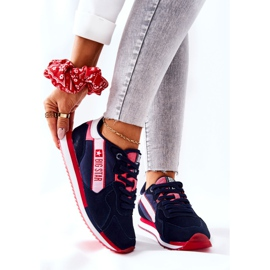 Leather sports shoes Big Star II274270 Navy blue white red 1