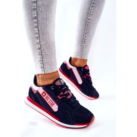 Leather sports shoes Big Star II274270 Navy blue white red 3