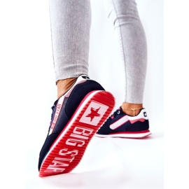Leather sports shoes Big Star II274270 Navy blue white red 4