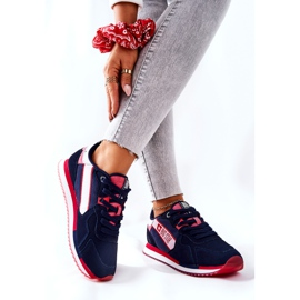 Leather sports shoes Big Star II274270 Navy blue white red 2