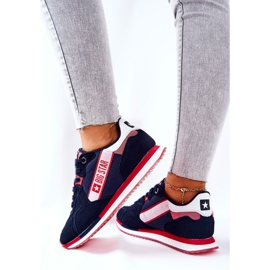 Leather sports shoes Big Star II274270 Navy blue white red 5