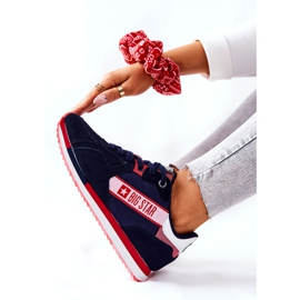 Leather sports shoes Big Star II274270 Navy blue white red 6