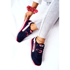 Leather sports shoes Big Star II274270 Navy blue white red 7