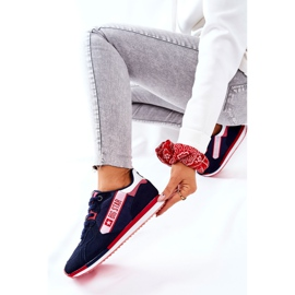 Leather sports shoes Big Star II274270 Navy blue white red 8