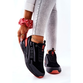Leather Sport Shoes Big Star II274460 Black red 1