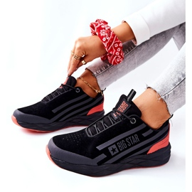 Leather Sport Shoes Big Star II274460 Black red 6
