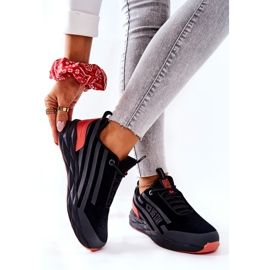 Leather Sport Shoes Big Star II274460 Black red 2