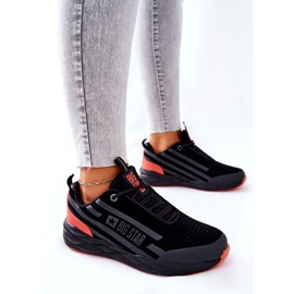 Leather Sport Shoes Big Star II274460 Black red 3
