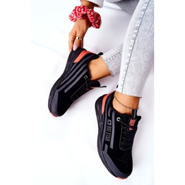 Leather Sport Shoes Big Star II274460 Black red 7