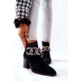 Leather boots with chain Laura Messi Black 2345 1