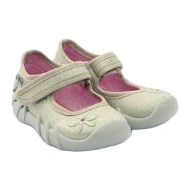 Girls slippers bow Befado gold golden 4