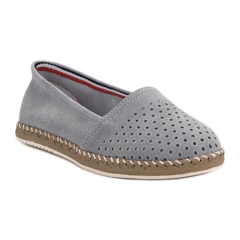 5c2ea7e95 Filippo grey Gray Leather Espadrilles | eBay