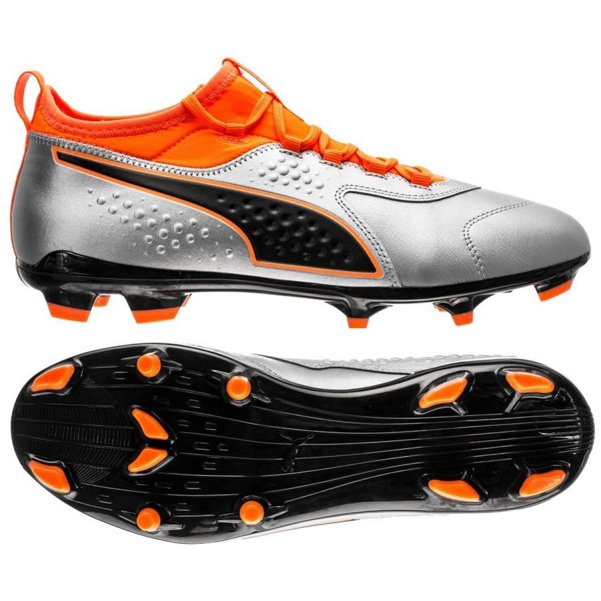 Details about Football boots Puma One 3 Lth Fg M 104743 01 orange multicolored